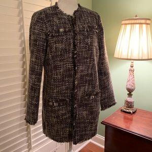 Chico's Tweed Long Lined Fringe Edge Jacket